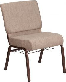 HERCULES Series 21'' Wide Beige Fabric Church Chair with 4'' Thick Seat, Book Rack - Copper Vein Frame [FD-CH0221-4-CV-BGE1-BAS-GG]