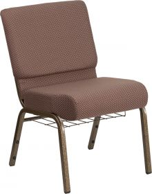 HERCULES Series 21'' Wide Brown Dot Fabric Church Chair with 4'' Thick Seat, Book Rack - Gold Vein Frame [FD-CH0221-4-GV-BNDOT-BAS-GG]
