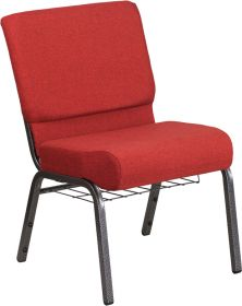 HERCULES Series 21'' Wide Crimson Fabric Church Chair with 4'' Thick Seat, Cup Book Rack - Silver Vein Frame [FD-CH0221-4-SV-RED-BAS-GG]