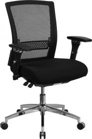 HERCULES Series 24/7 Multi-Shift, 300 lb. Capacity Black Mesh Multi-Functional Executive Swivel Chair with Padded Seat and Seat Slider [GO-WY-85-8-GG]