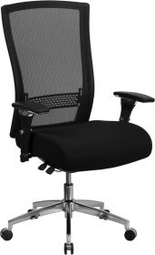 HERCULES Series 24/7 Multi-Shift, 300 lb. Capacity High Back Black Mesh Multi-Functional Executive Swivel Chair with Seat Slider [GO-WY-85H-GG]