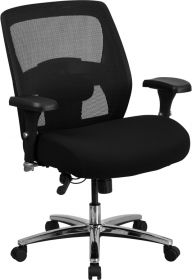 HERCULES Series 24/7 Multi-Shift, Big & Tall 500 lb. Capacity Black Mesh Multi-Functional Executive Swivel Chair with Ratchet Back [GO-99-3-GG]
