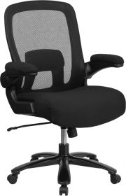 HERCULES Series 500 lb. Capacity Big & Tall Black Mesh Executive Swivel Chair with Fabric Seat, Adjustable Lumbar and Flip-Up Arms [BT-20180-GG]