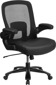 HERCULES Series 500 lb. Capacity Big & Tall Black Mesh Executive Swivel Chair with Leather Seat, Adjustable Lumbar and Flip-Up Arms [BT-20180-LEA-GG]