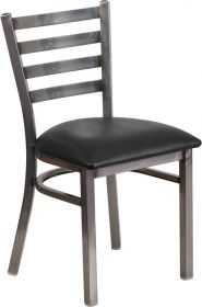 HERCULES Series Clear Coated Ladder Back Metal Restaurant Chair - Black Vinyl Seat [XU-DG694BLAD-CLR-BLKV-GG]