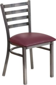 HERCULES Series Clear Coated Ladder Back Metal Restaurant Chair - Burgundy Vinyl Seat [XU-DG694BLAD-CLR-BURV-GG]