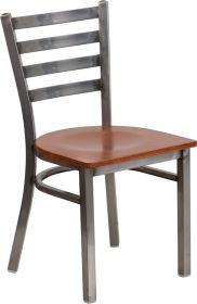HERCULES Series Clear Coated Ladder Back Metal Restaurant Chair - Cherry Wood Seat [XU-DG694BLAD-CLR-CHYW-GG]