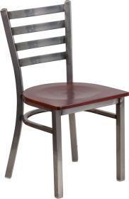 HERCULES Series Clear Coated Ladder Back Metal Restaurant Chair - Mahogany Wood Seat [XU-DG694BLAD-CLR-MAHW-GG]