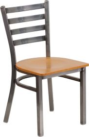 HERCULES Series Clear Coated Ladder Back Metal Restaurant Chair - Natural Wood Seat [XU-DG694BLAD-CLR-NATW-GG]