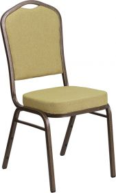 HERCULES Series Crown Back Stacking Banquet Chair with Citron Fabric and 2.5'' Thick Seat - Gold Vein Frame [FD-C01-GV-8-GG]