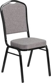 HERCULES Series Crown Back Stacking Banquet Chair with Gray Fabric and 2.5'' Thick Seat - Black Frame [FD-C01-B-5-GG]
