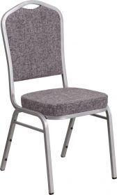 HERCULES Series Crown Back Stacking Banquet Chair with Herringbone Fabric and 2.5'' Thick Seat - Silver Frame [FD-C01-S-12-GG]