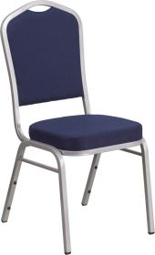 HERCULES Series Crown Back Stacking Banquet Chair with Navy Fabric and 2.5'' Thick Seat - Silver Frame [FD-C01-S-2-GG]
