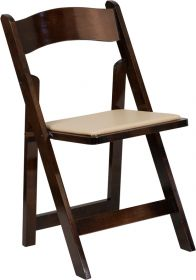 HERCULES Series Fruitwood Wood Folding Chair with Vinyl Padded Seat [XF-2903-FRUIT-WOOD-GG]
