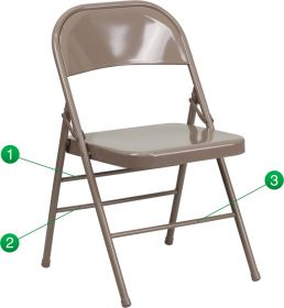 HERCULES Series Triple Braced & Double Hinged Beige Metal Folding Chair [HF3-MC-309AS-BGE-GG]
