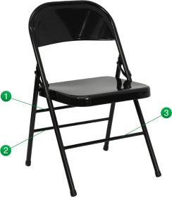 HERCULES Series Triple Braced & Double Hinged Black Metal Folding Chair [HF3-MC-309AS-BK-GG]