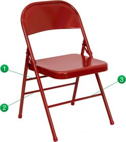 HERCULES Series Triple Braced & Double Hinged Red Metal Folding Chair [HF3-MC-309AS-RED-GG]