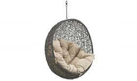 Mahwah Outdoor Patio Swing Chair without Stand in Gray Beige