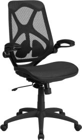 High Back Black Mesh Executive Swivel Office Chair with Mesh Seat, Adjustable Lumbar, 2-Paddle Control and Flip-Up Arms [HL-0013T-GG]