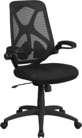 High Back Black Mesh Executive Swivel Office Chair with Padded Seat, Adjustable Lumbar, 2-Paddle Control and Flip-Up Arms [HL-0013-GG]