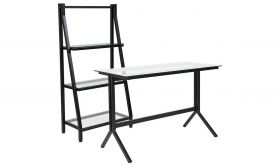 Highland Glass Computer Desk and Bookshelf with Metal Frame in Black & Clear