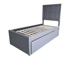 Margo Modern Youth Twin Bed with Trundle in Grey