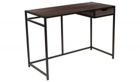 Homewood Driftwood Computer Desk with Pull-Out Drawer & Metal Frame in Black