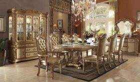 Homolovi Traditional Dining Room Set in Gold Patina & Bone