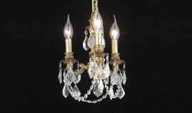 Hope Traditional 3 Lights Hanging Fixture Chandelier in French Gold Finish