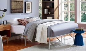 Horizon Modern Stainless Steel Bed in Gray