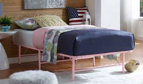 Horizon Modern Stainless Steel Bed in Pink