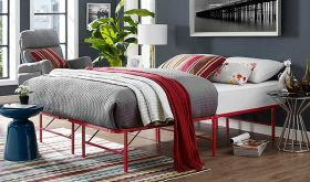 Horizon Modern Stainless Steel Bed in Red