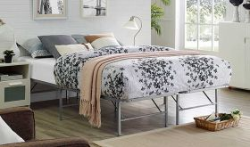 Horizon Modern Stainless Steel Bed in Silver