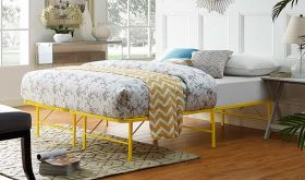 Horizon Modern Stainless Steel Bed in Yellow