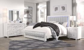 Howdy Contemporary Bedroom Set in Metallic White & Marble