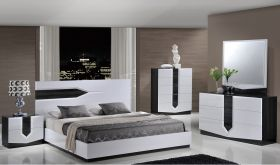 Hudson Bedroom Set in White & Zebra Grey
