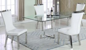 Hueneme Casual Dining Room Set in Clear & White