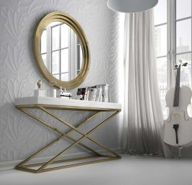 Huesca Modern Console Table in White & Old Gold