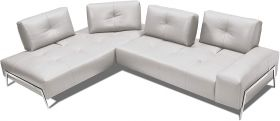 Roche Premium Italian Leather Sectional Sofa in Light Grey