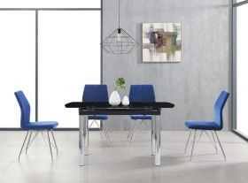 Ire Modern Dining Room Set in Black/Silver & Blue
