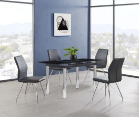 Iredell Modern Dining Room Set in Black Silver & Black PU