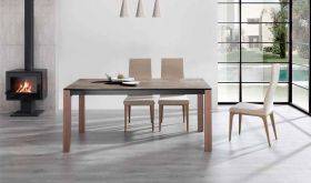 ESF Iron Dining Table with Igni Dining Chair Dining Set in Walnut & Camel