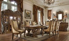 Islandia Traditional Dining Room Set in Gold & Brown