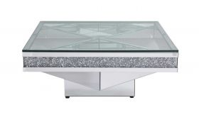 "Islip 39"" Crystal Mirrored Coffee Table in Clear Mirror Finish"