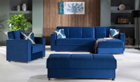 Istikbal Elegant Convertible Sectional Sofa in Roma Navy Plain