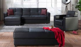 Istikbal Elegant Convertible Sectional Sofa in Santa Glory Black