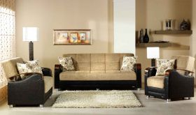 Istikbal Luna Convertible Living Room Set in Fulya Brown