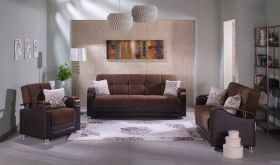 Istikbal Luna Convertible Living Room Set in Naomi Brown