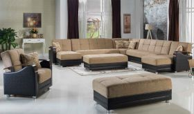 Istikbal Luna Modular Sectional Sofa in Fulya Brown