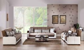 Istikbal Natural Convertible Living Room Set in Naomai Light Brown